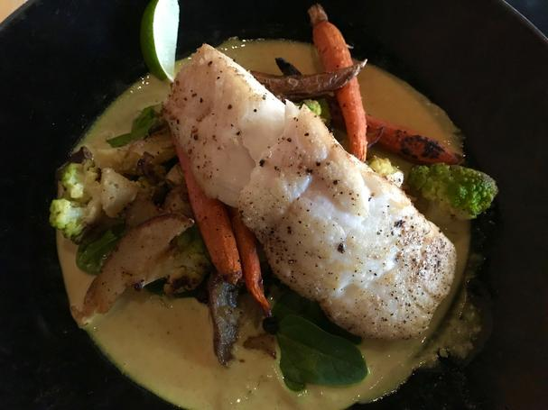 Wild Halibut with yellow coconut curry
