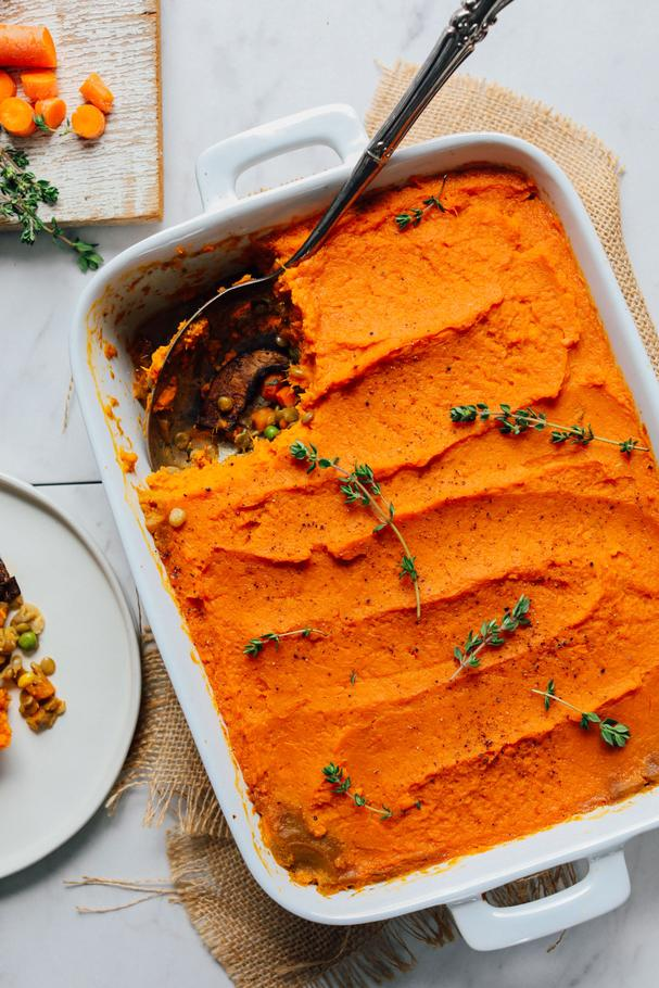 vegan lentil sweet potato pie
