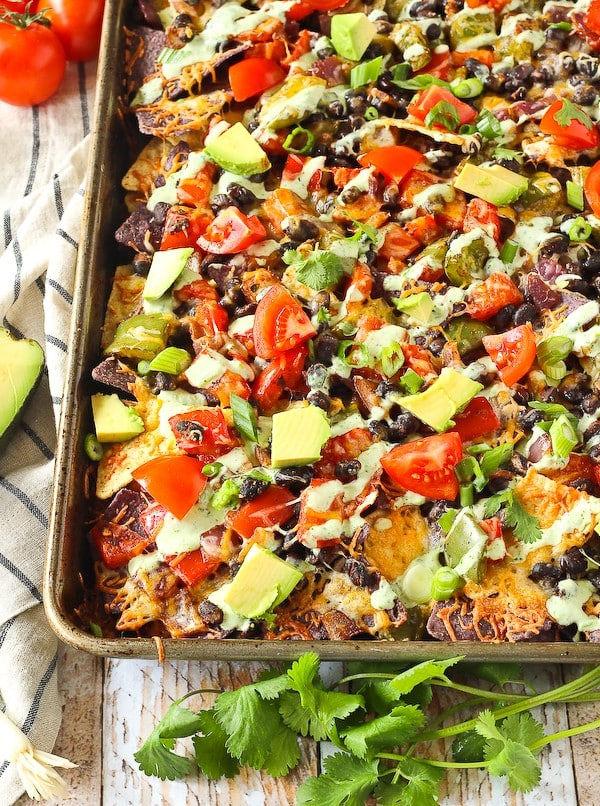Vegetarian nachos with Creamy Cilantro-Lime Dressing