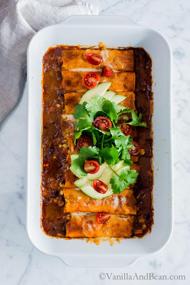 Sweet Potato Wrapped Black Bean Enchiladas
