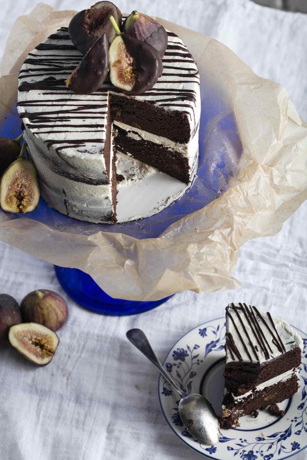Gluten Free Chocolate Cake with Red Wine Soake Figs and Vegan Buttercream