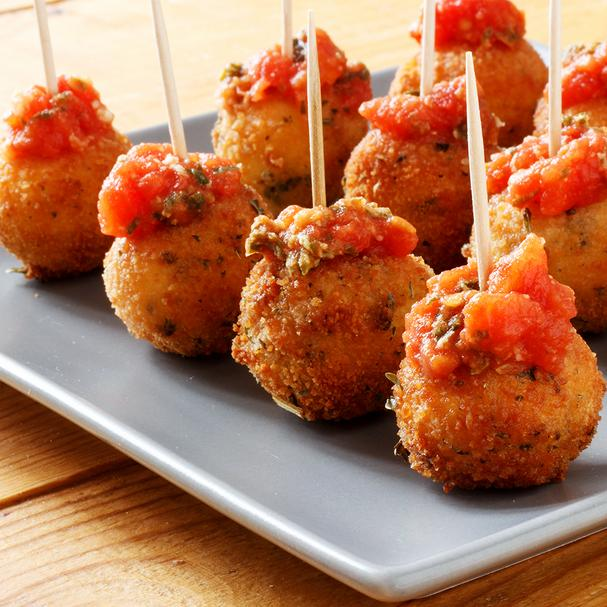 Fried Mozzarella Balls in Tomato Sauce