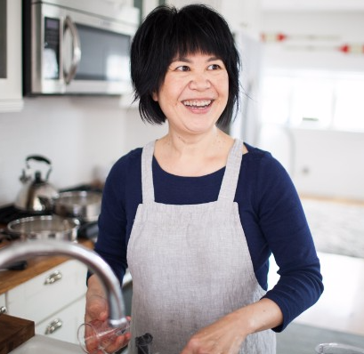 Andrea Nguyen in the kitchen