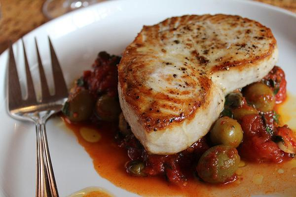 Roasted Swordfish with Mazanilla Olives, Cherry Tomatoes, and Capers