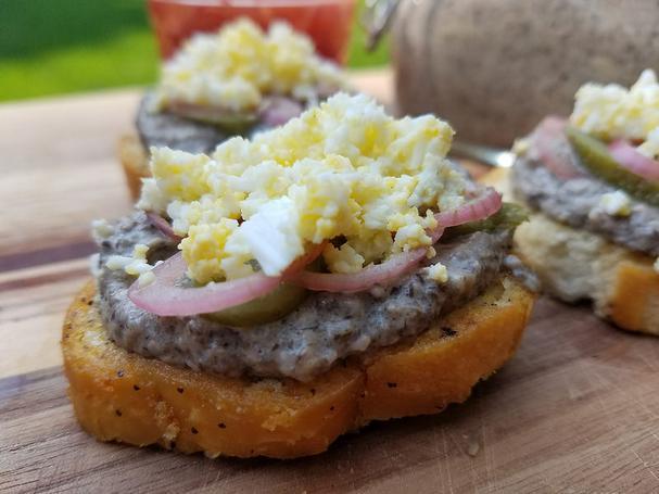Mushroom pate on crostini