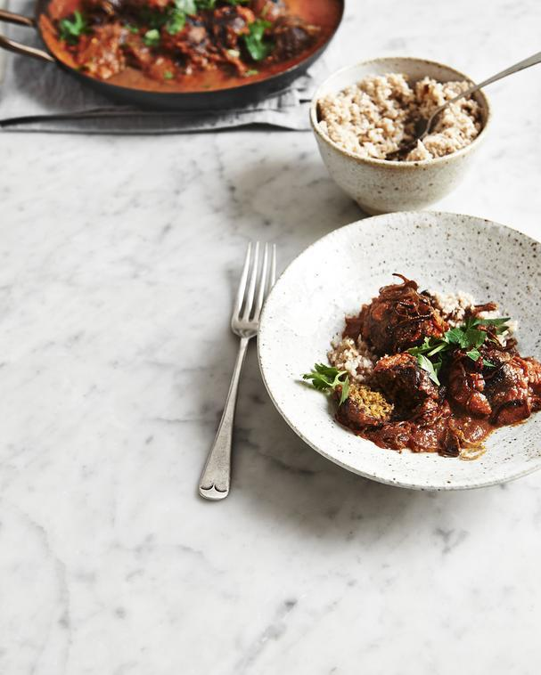 Middle Eastern-Spiced Walnut and White Bean Balls with Cauliflower