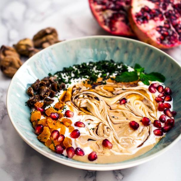 Pomegranate molases and tahini breakfast bowl