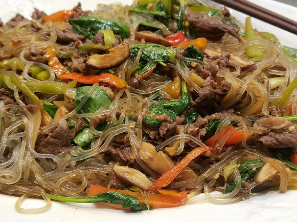 Beef bulgogi with sweet potato noodles and vegetables