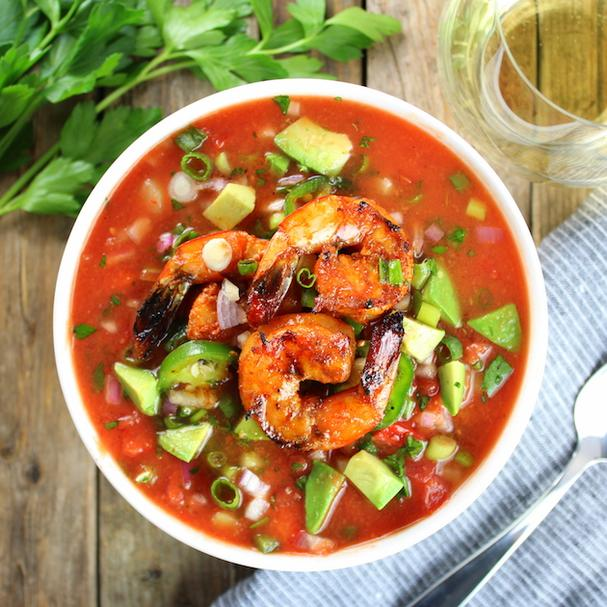 Gazpacho with spicy grilled shrimp