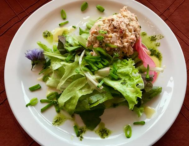 Green Salad with fish and chive blossoms