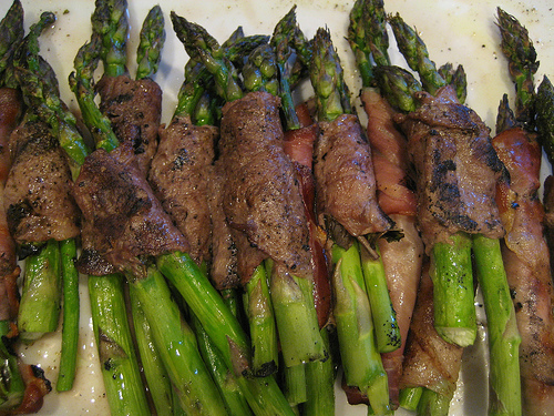 lamb and beef wrapped asparagus