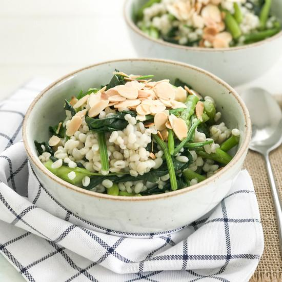 Barley with Green Asparagus and Spinach