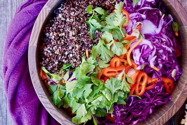 Gluten-Free Quinoa Vegetable Slaw with Peanut Dressing