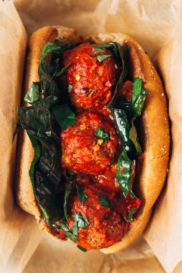 White Bean and Mushroom Meatball Sub