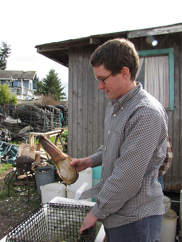 Nick Jones with a Geoduck on Lopez Island