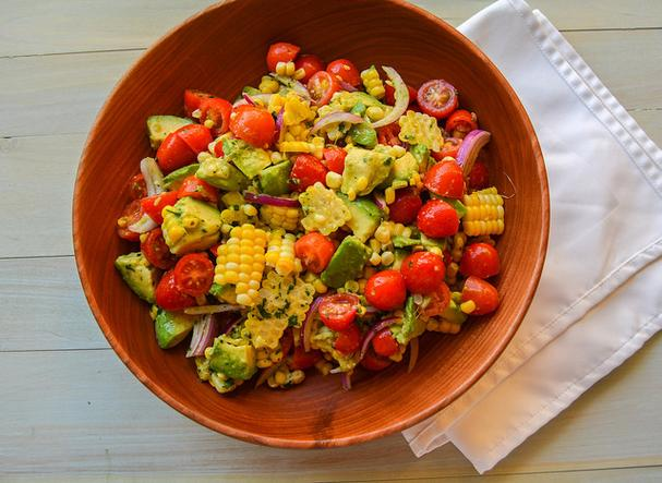 Tomato, Corn, and Avocado Salad with Cilantro Lime Vinaigrette