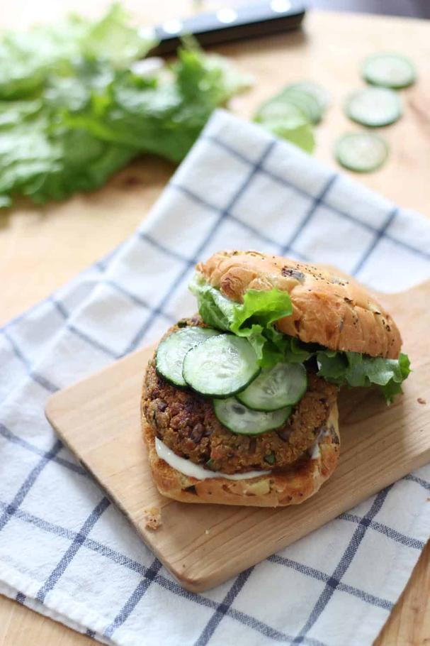 Quinoa, Mushroom, and Zucchini Veggie burgers