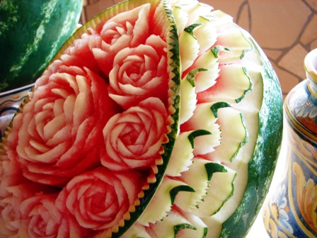 Carved Watermelon Art