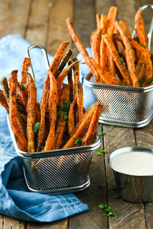 Sweet Potato Fries with Creamy Mango Dipping Sauce