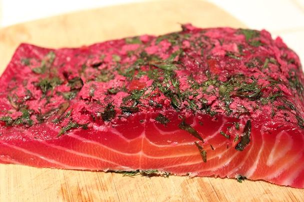Homemade Beet-cured Gravlax
