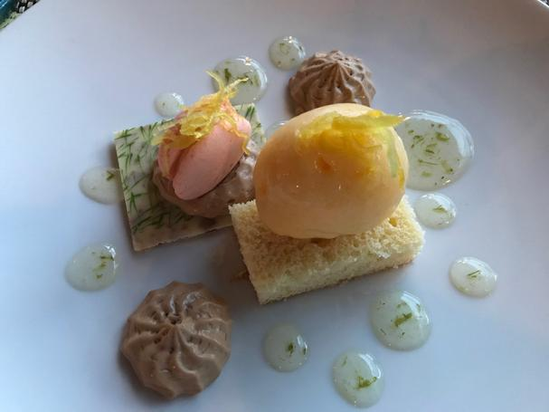 Lemon Cake with Caramel Vanilla Mousse, ice-wine gel, peach sorbet