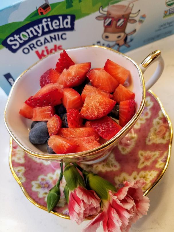Stonyfield yogurt parfait with strawberries