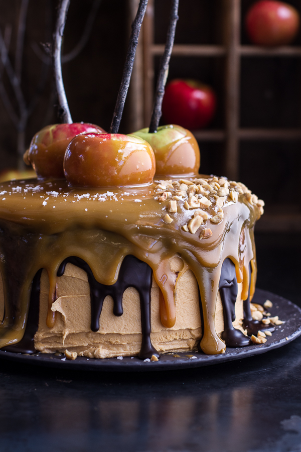 Foodista salted caramel apple snickers cake and must try for Caramel apple recipes for halloween