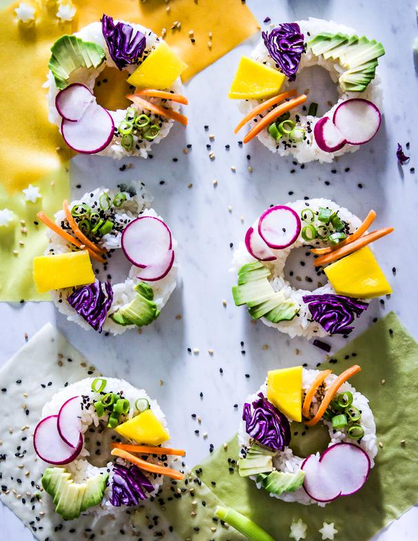 Vegetarian Rainbow Sushi Rolls